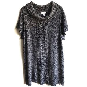 Style & Co Sweater Dress Tunic Black White Size 3X